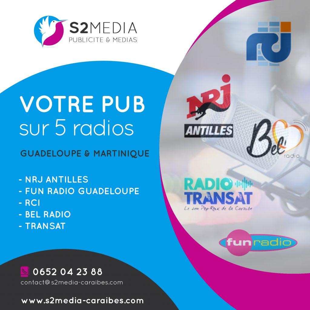 publicité nrj antilles, publicité fun radio guadeloupe, publicité rci antilles, publicité radio martinique guadeloupe